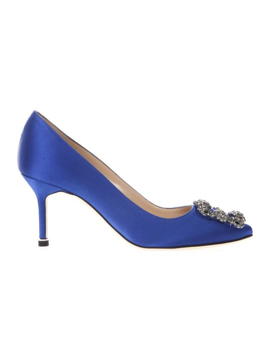 Manolo Blahnik Hangisi Blue Satin Pumps