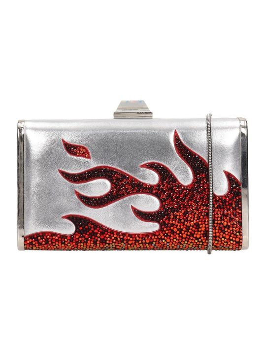 Lola Cruz Clutch Bag In Silver Leather