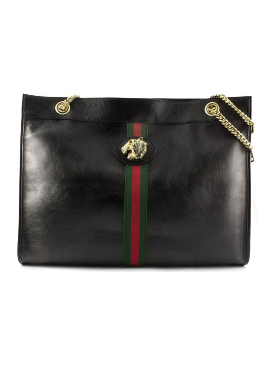 Gucci Rajah Large Tote Black Leather