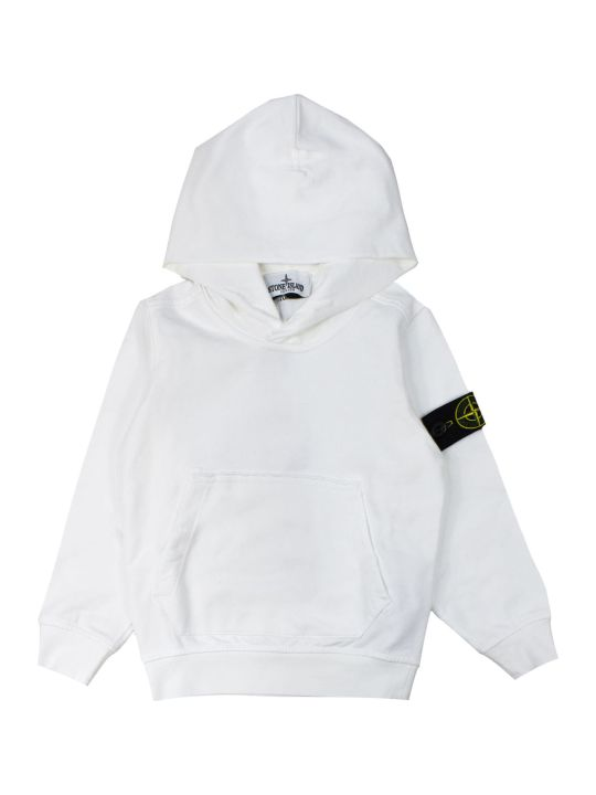 Stone Island White Cotton Logo Embroidered Hoodie