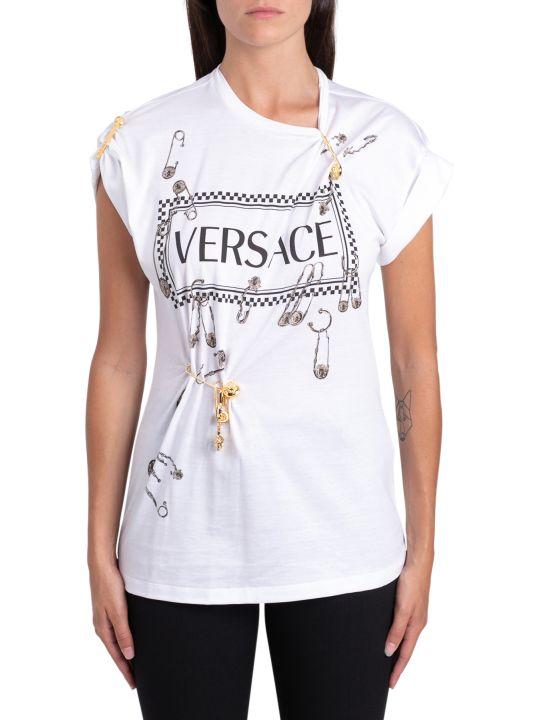 Versace T-shirt A Maniche Corte Stampa Versace Con Pins Dorate