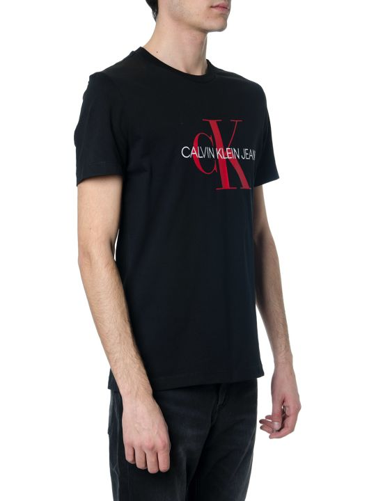 Calvin Klein Black Cotton Ck Logo T-shirt