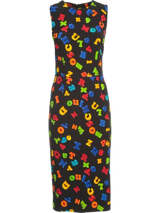 Moschino Pencil Dress W/s Crepe Magnets Fantasy