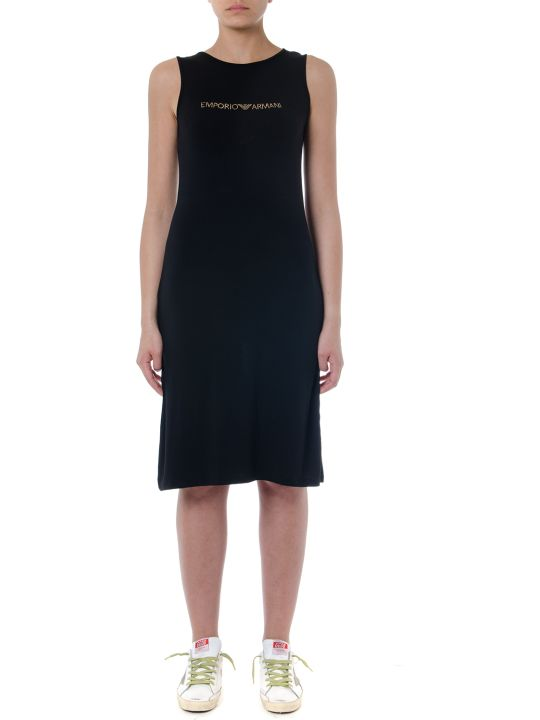 Emporio Armani Black Viscose Dress With Logo