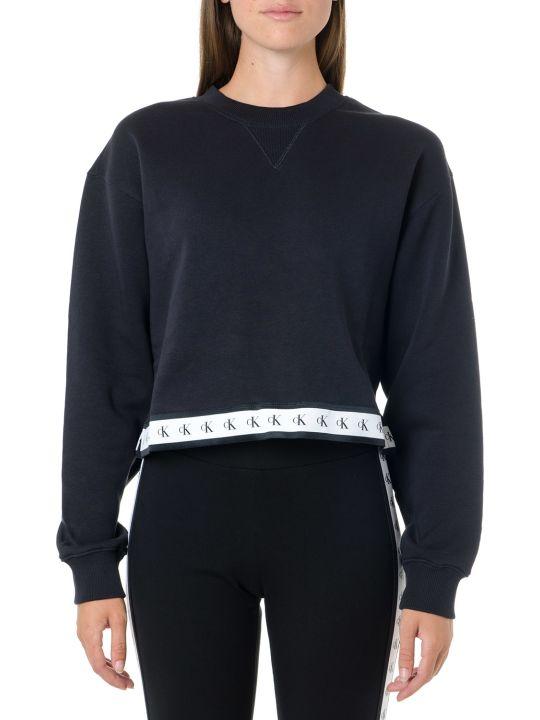 Calvin Klein Jeans Black Cotton Logoed Hem Sweatshirt