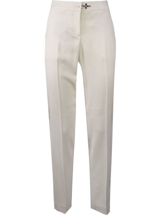 Fay White Mid-rise Tapered-leg Trousers