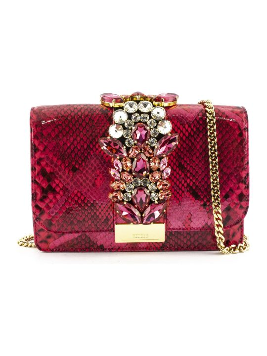 Gedebe Cliky Python Pink Fuxia Jungle Pearl Clutch