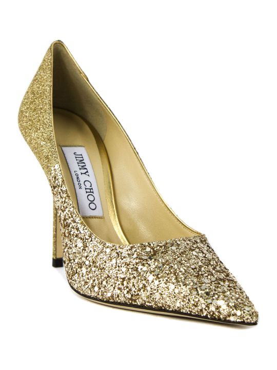 Jimmy Choo Gold Glitter Love Pump