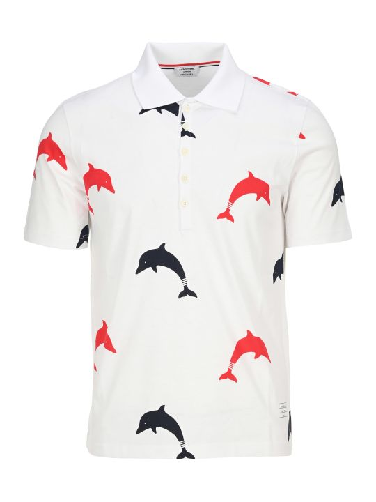 Thom Browne Dolphin Print Polo Shirt
