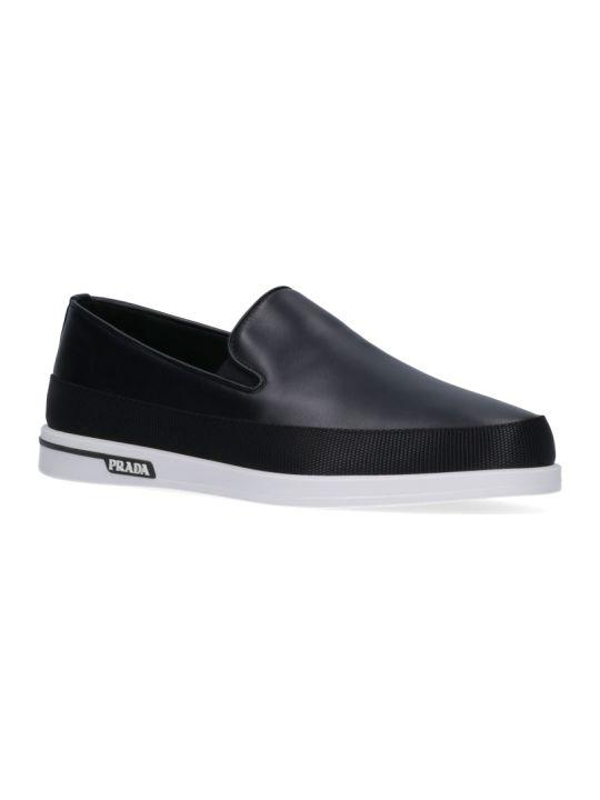 Prada Contrasting Logo Loafers