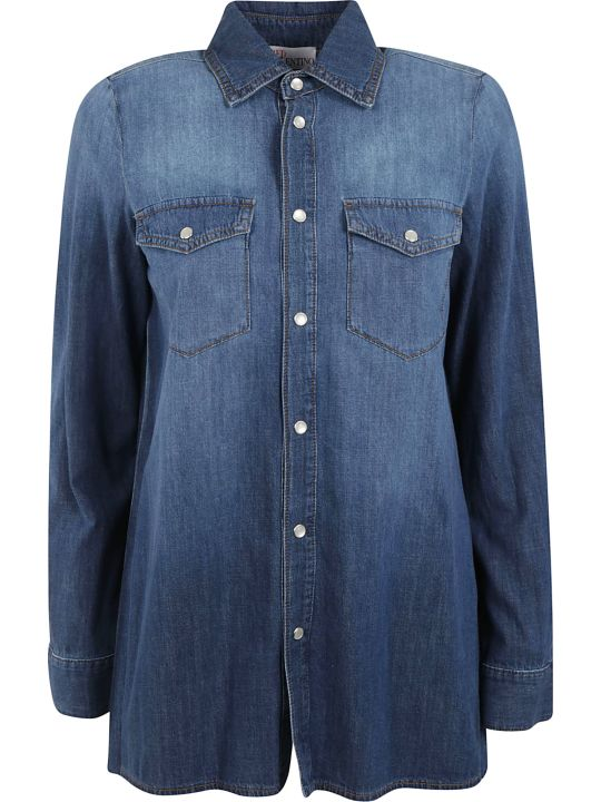 RED Valentino Denim Back Pleated Jacket