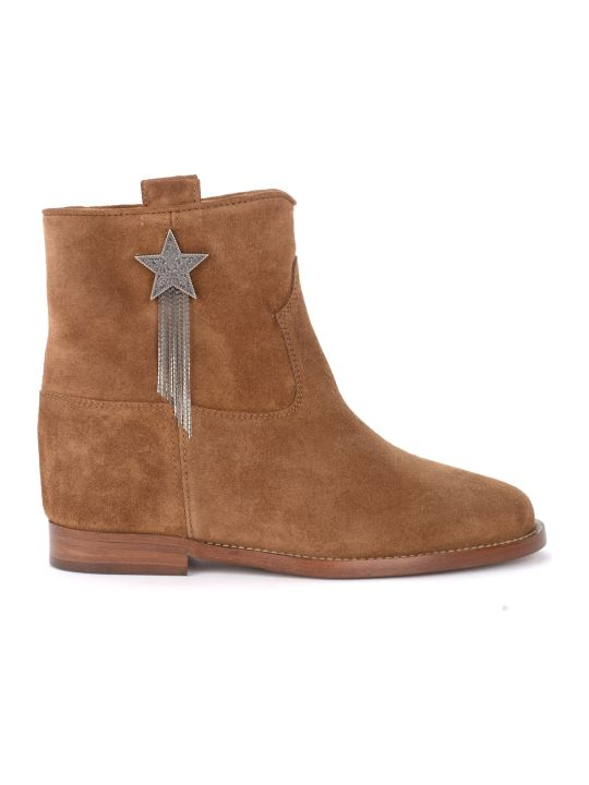 Via Roma 15 Ankle Boot In Leather-colored Suede With Applied Star