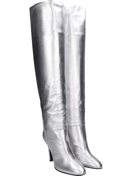 Giuseppe Zanotti Hattie Boots In Silver Leather