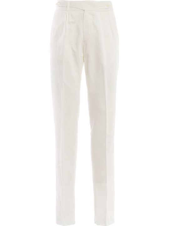 Ermenegildo Zegna Asymmetric Button Belt Trousers