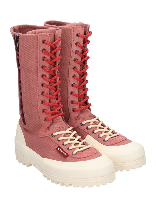 Superga Alpina High Sneakers In Rose-pink Canvas