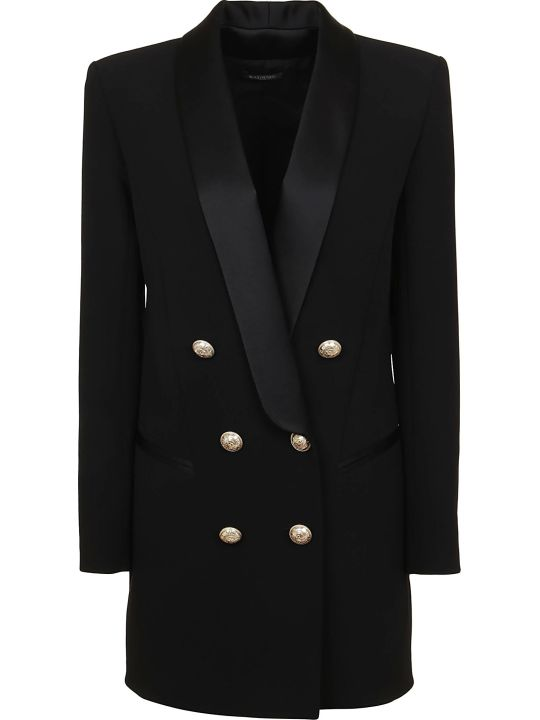 Balmain 6 Btn Satin Lapel Crepe Jacket Dress