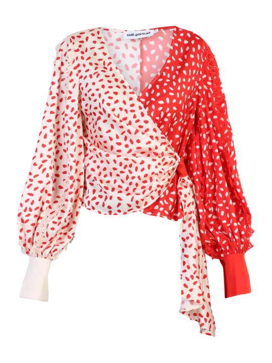 self-portrait Red Wrap Blouse