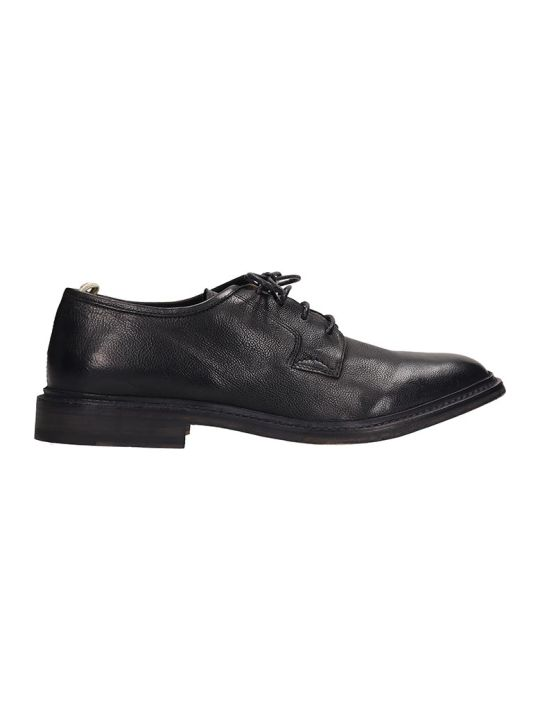 Officine Creative Black Leather Durham Laces Up Shoes