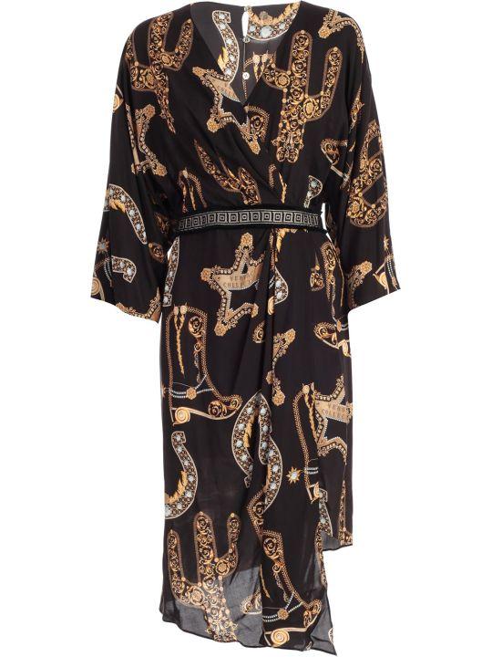 Versace Collection Dress L/s V Neck Asymmetric Baroque Printing