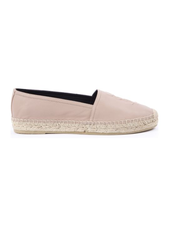Saint Laurent Nude Leather Espadrilles With Embossed Logo