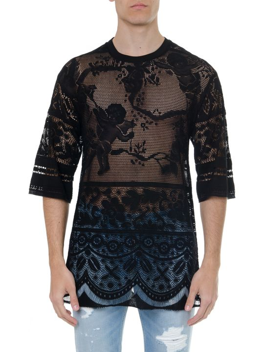 Dolce & Gabbana Black Cotton Embroidered T Shirt