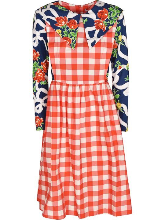 Batsheva Checked Floral Dress
