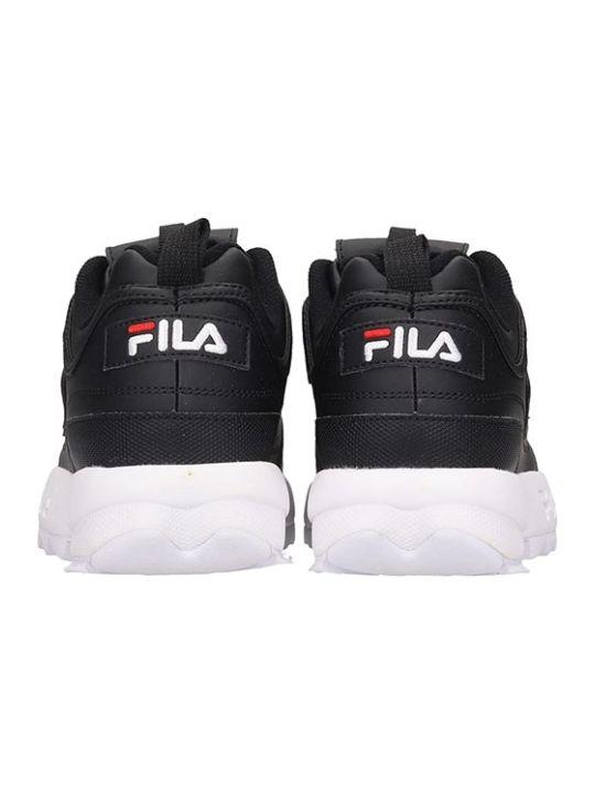 Fila Distruptor Low Sneakers In Black Leather