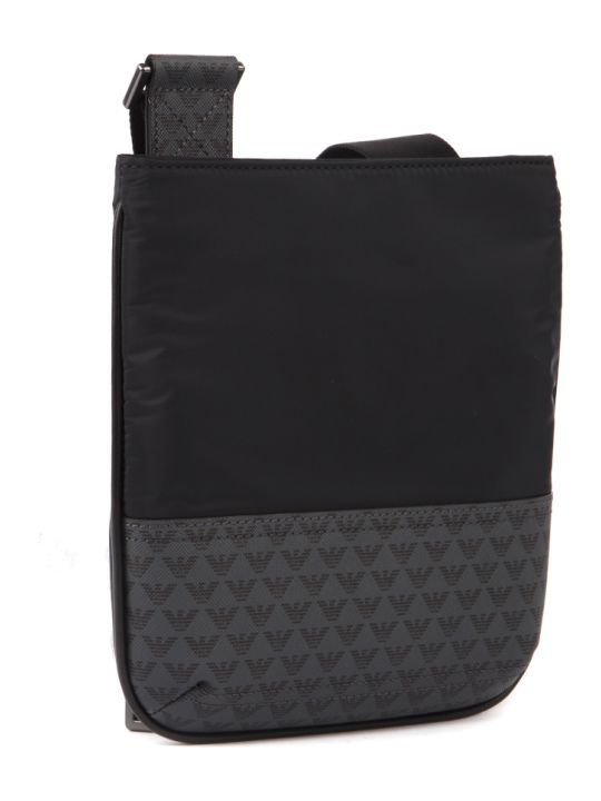 Emporio Armani Black Polyester Logo Shoulder Bag