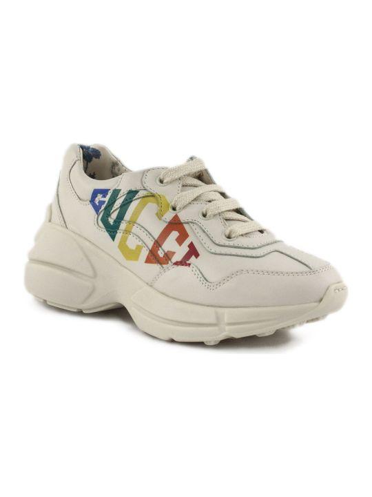 Gucci White Leather Rhyton Sneaker