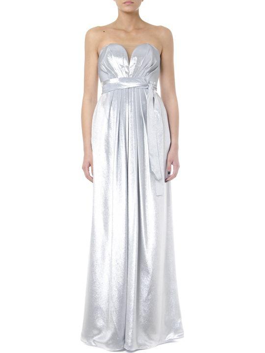 Rhea Costa Metal Silver Silk Heart Shape Long Dress