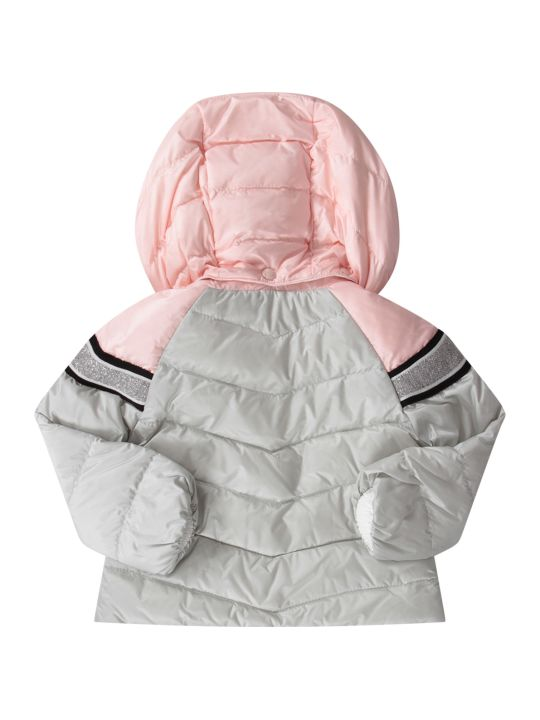 Moncler Grey And Pink Babygirl Jacket With White Logo