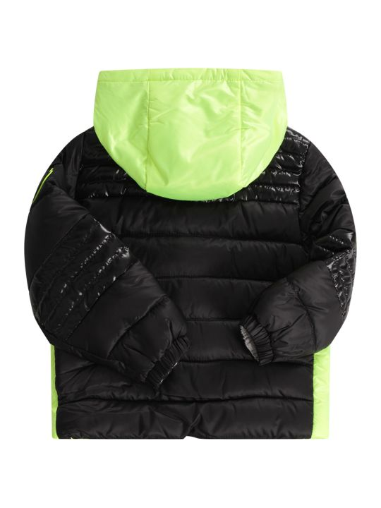 Moncler Black And Neon Yellow Babyboy Jacket With Iconic Patch