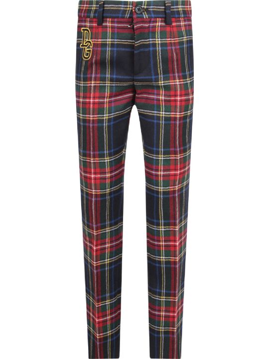 Dolce & Gabbana Colorful Boy Checked Pants With Logo