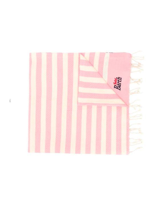 MC2 Saint Barth Rose And White Striped Sea Towel Saint Bart Kids.