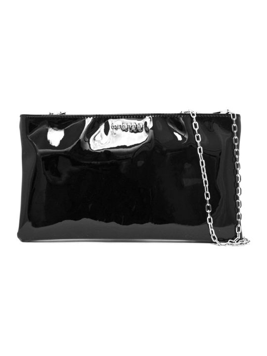 Orciani Clutch Bag In Black Patent Leather