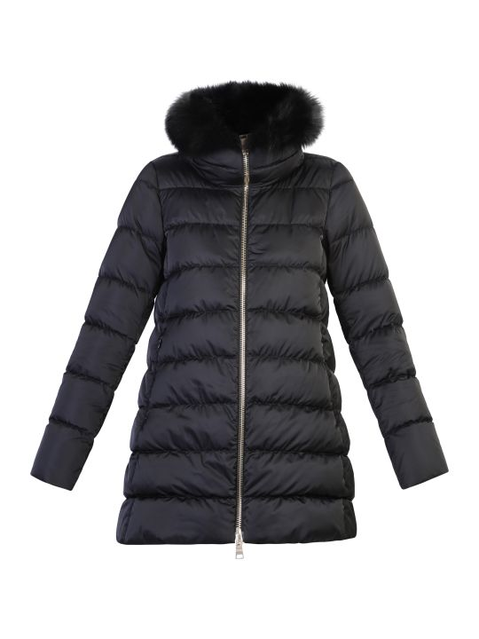Herno Black Fur Detail Padded Jacket