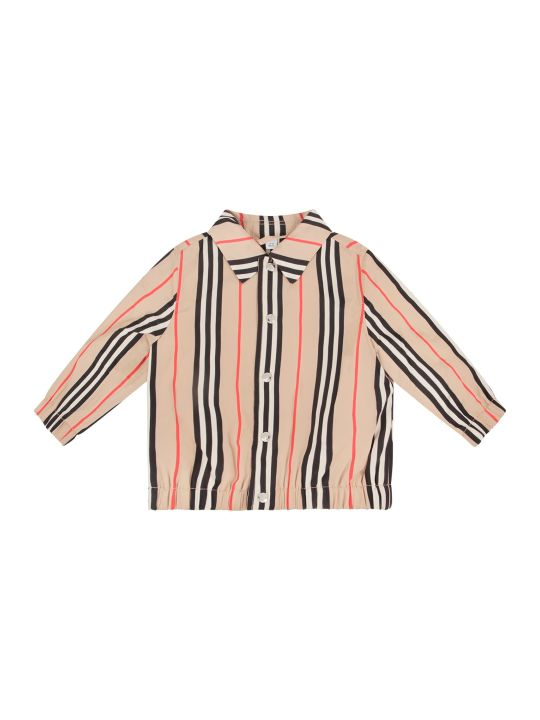 Burberry Beige Babyboy Bomber With Icon Stripes