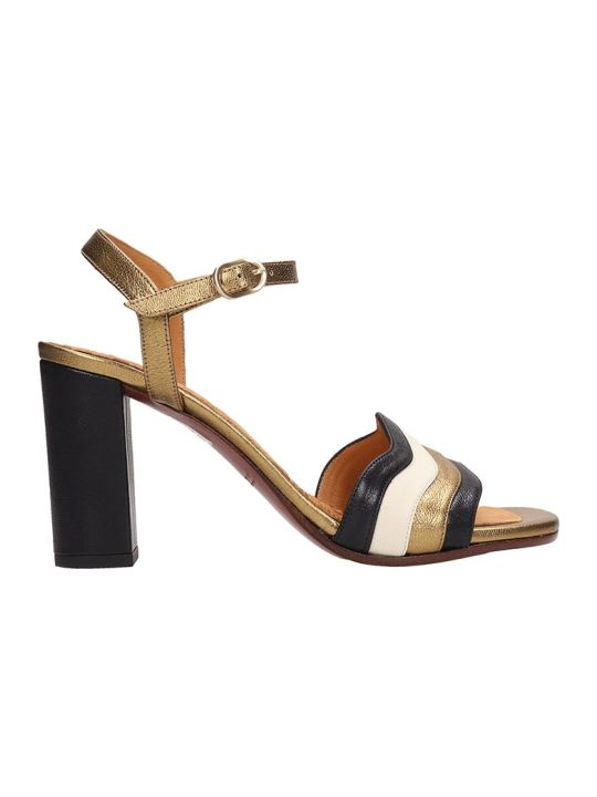 Chie Mihara Black And Gold Leather Sandals Baola