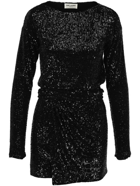 Saint Laurent Sequin Embroidered Belted Dress