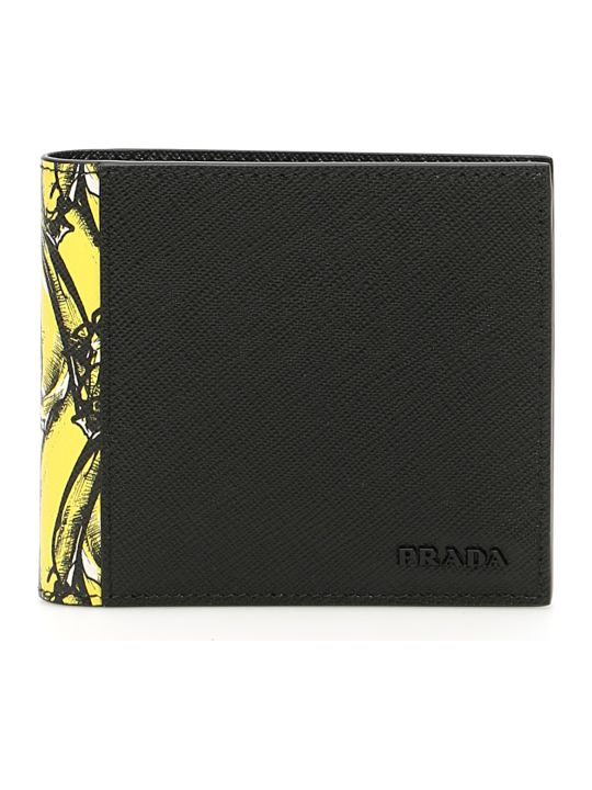 Prada Saffiano Wallet With Banana Print