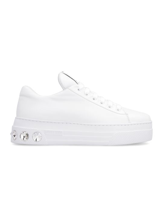 Miu Miu Leather Platform Sneakers