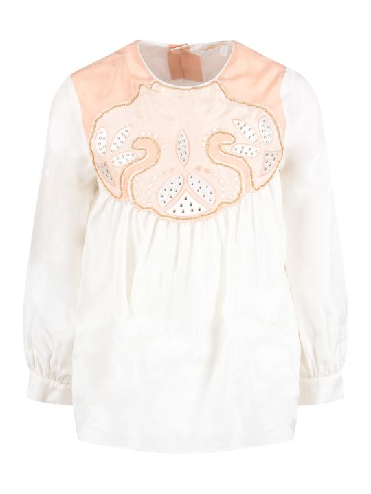 Chloé Pink And White Girl Blouse With White Logo