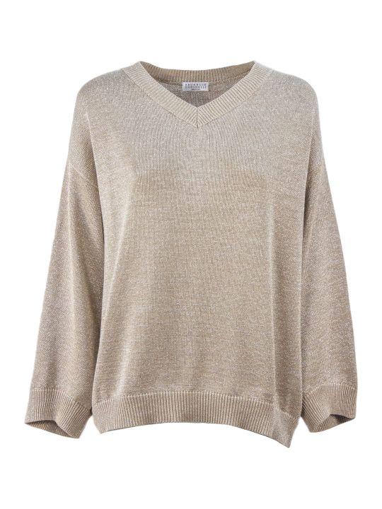 Brunello Cucinelli Beige Cotton-blend Knit Jumper