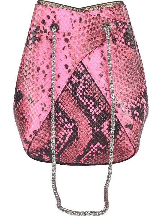 the VOLON Snake-skin Effect Bucket Bag