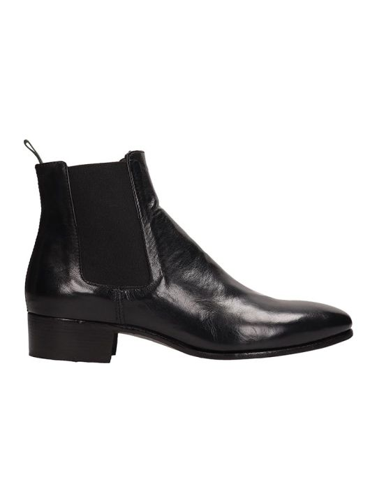 Officine Creative Black Leather Adrian Ankle Boots