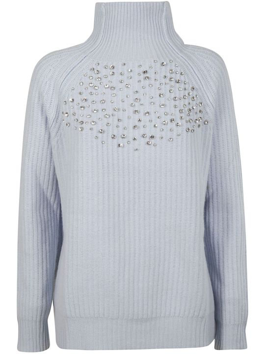 Be Blumarine Crystal Embellish Ribbed Sweater