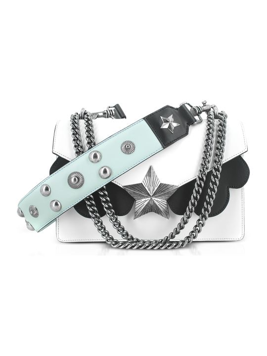 Les Jeunes Etoiles White Black And Light Blue Leather Vega Medium Shoulder Bag