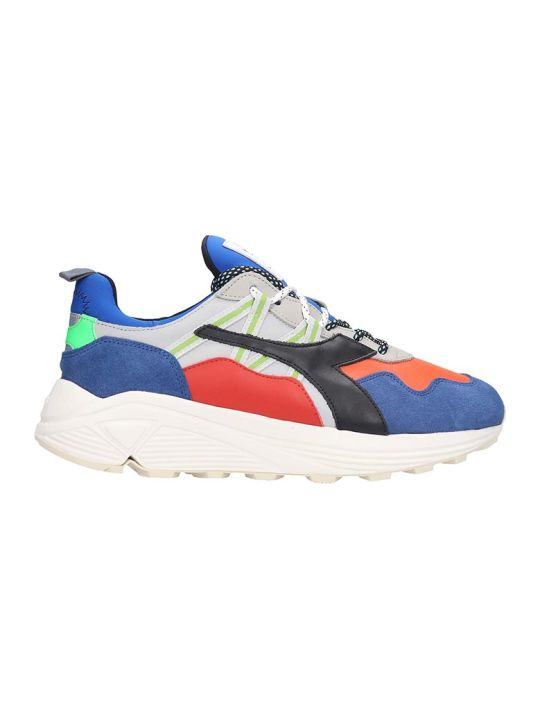 Diadora Rave  Sneakers In Blue Leather And Fabric