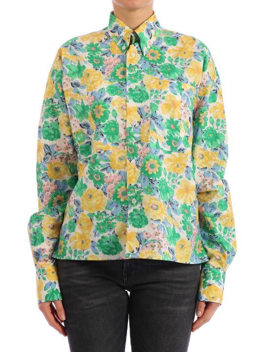 Plan C Floral Print Cotton Shirt