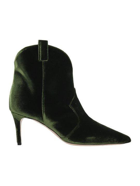 Dei Mille High Heels Ankle Boots In Green Velvet